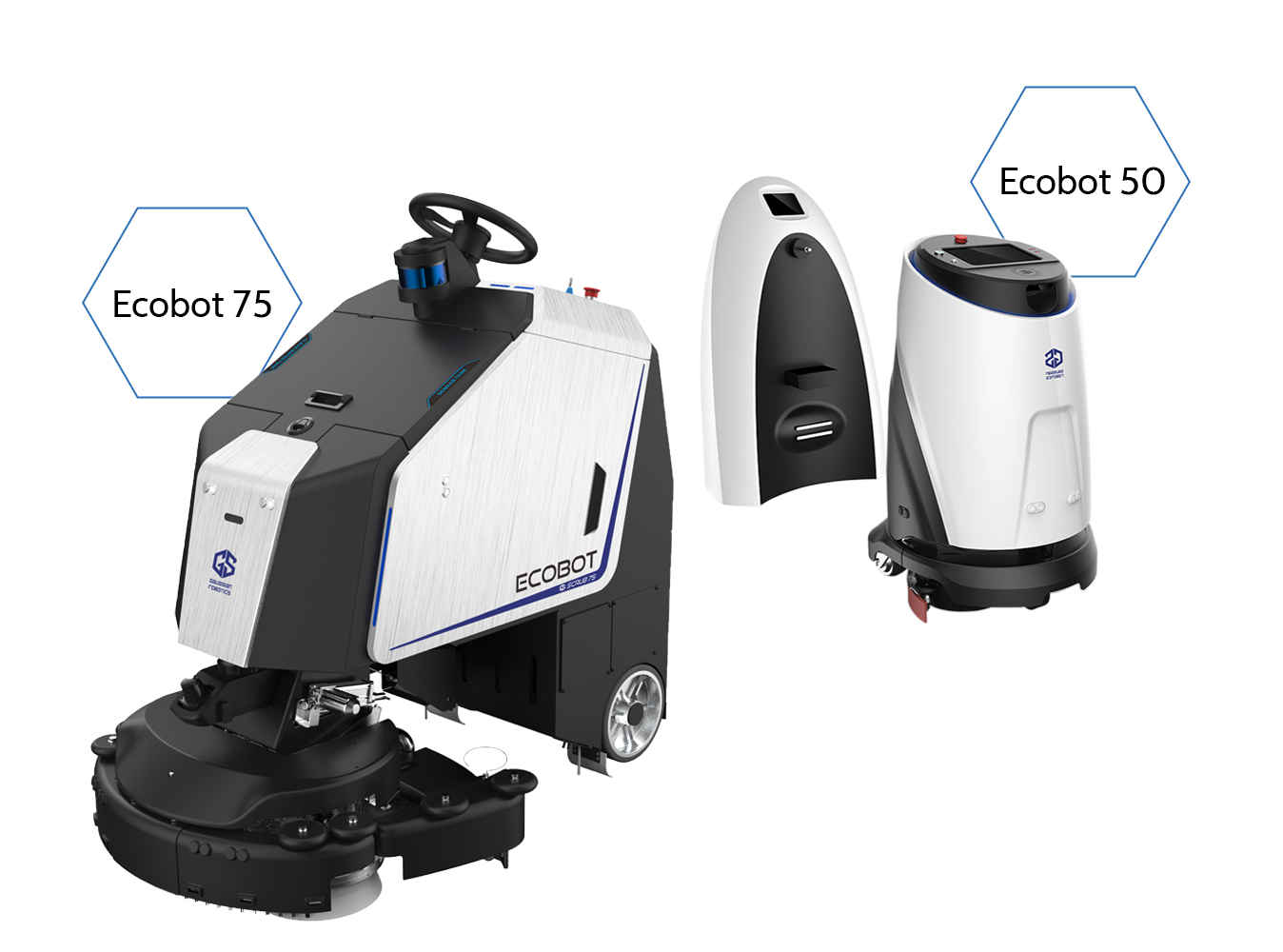 Ecobot 75 en Ecobot 50 met dockingstation